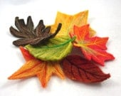 Fall Leaves Decoration Set of Six Needle Felted Wool Felt Halloween or Thanksgiving Nature Table