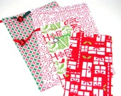 Reusable Fabric Gift Sacks - Set of Four - Drawstrings and Jingle Bells - Fun, Festive and Eco-Friendly