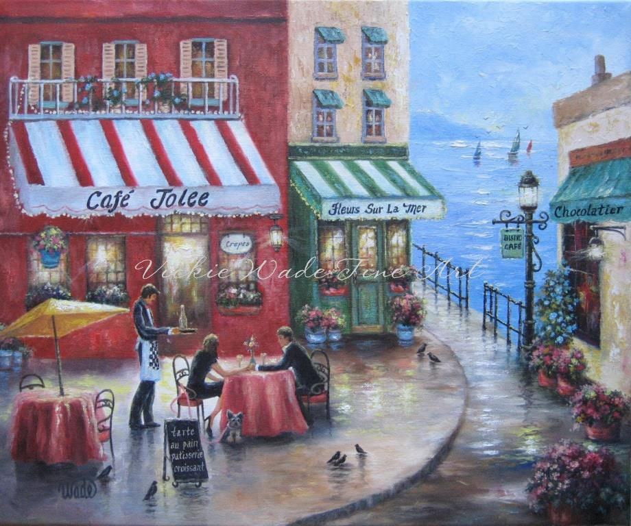 French Cafe By The Sea Art Print Lovers In France Wall Art