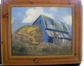 Vintage Landscape Painting Barn w Haystack Post Impressionist Style