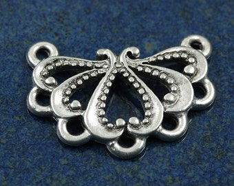 Antique silver swirly petal link 24x17mm component (4)