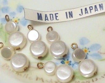 Vintage Japan Beads, Pearl Charms, Drops Dangles, Teardrop Pearl Japan Charm Charms Retro Art Deco NOS #958