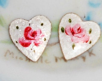 Vintage Guilloche Enamel Hearts Cabochon Rose Flowers Pink shabby Flower Heart Large. #903C