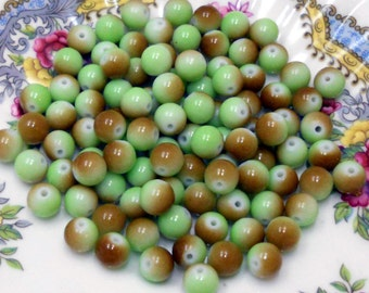 Vintage Glass Beads 8mm Candy Colorful Kids Juvenile Two Tone brown green Child. #148
