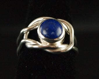 Sterling Silver and Lapis Knot Ring Size 8 1/4