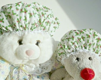 SALE Mommy and Me Shower Cap Bonnet Set of Two Holly Berry Waterproof Durable Soft Vinyl Caps with Soft Fabric Liner