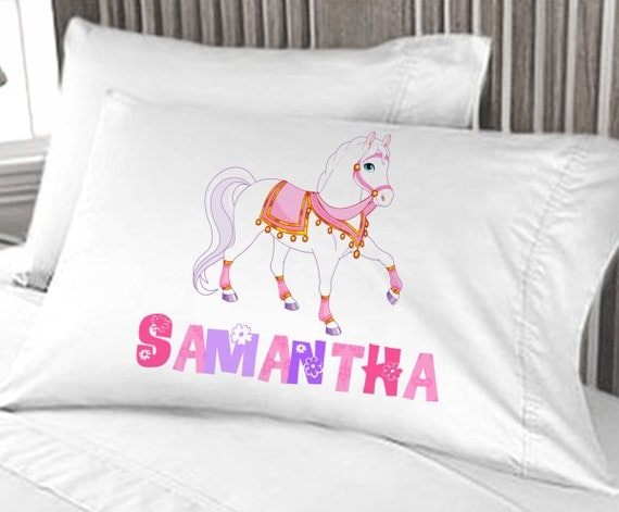 White Horse Girls Pillow Case Personalized For By Eugenie2