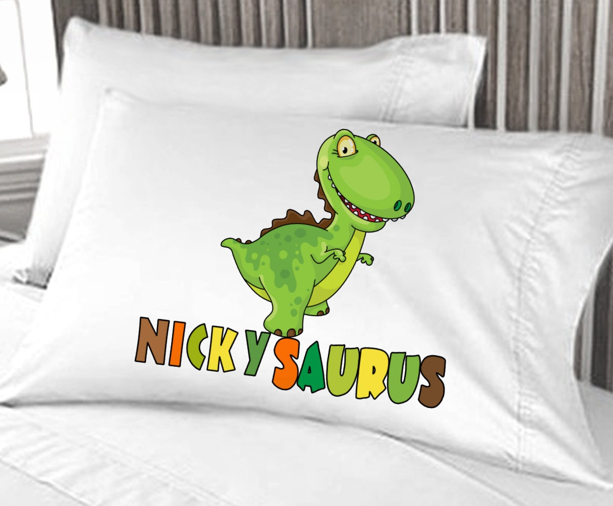 Personalized Cute Dinosaur Boys Pillow Case Christmas Gift
