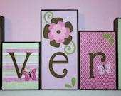 Personalized Wood Blocks - M2M NoJo's Jasmine bedding - Baby Room Custom Name Block Letters - Baby Letter Blocks