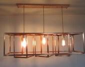 Reserved for Ken - Rush Order - Geometric Copper Chandelier - Long Rectangular Box Shades - For Level or Vaulted Ceiling - Bare Bulb Light
