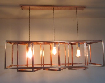 Copper Edison Bulb Cage Chandelier - The Geometric - Modern Industrial - LED and Incandescent Compatible - For Level or Vaulted Ceiling
