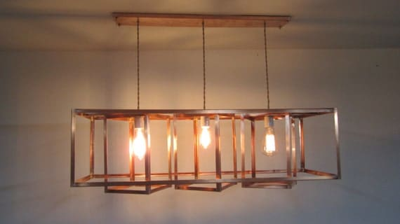 Items Similar To Copper Edison Bulb Cage Chandelier The