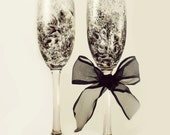 Hand Painted CRYSTAL Champagne Flutes  - Silver and Black Noir Rose Design, Set of 4 - 25th Wedding Anniversary Wedding Glasses