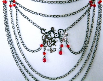 Necklace Neo-Victorian Metals black metal necklace with red crystals