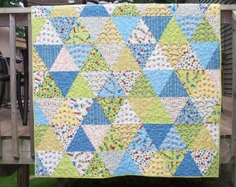 Tumbling Triangles Baby Boy Quilt