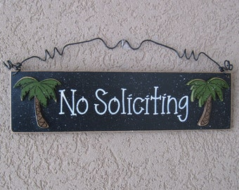 Free Shipping- NO SOLICITING with palm trees sign (black) for home and office hanging sign