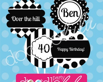 INSTANT DOWNLOAD Editable PDF Black & White Party Circles / Cupcake Toppers 4 Designs by 2 june bugs