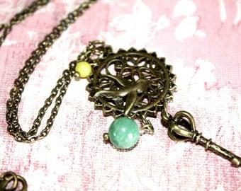 Charm Necklace, Antique Bronze Necklace, Bird Necklace, Key Necklace
