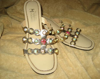 Merry Mules Slide Shoes Gold with Faux Gemstones 50s 60s Vintage