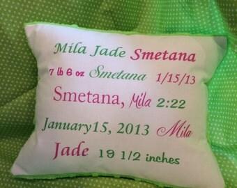 Personalized keepsake baby gift pillow