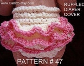 Crochet pattern, diaper cover, ruffled, number 47, beginner level, ok to sell your finished items, instant download