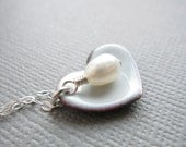 Mist Blue Heart Necklace White Pearl Sterling Silver Enamel