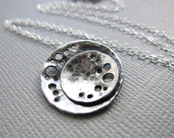 Double Moon Necklace Sterling Silver