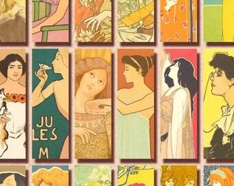 Art Nouveau Women 1x3 inch vintage French digital collage sheet Instant Download 168