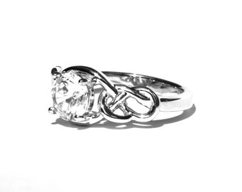 THE KNOT - Certified Diamond Engagement Solitaire Ring 14k - 3/4th carat Center - Sailor - Army - Navy - Militairy - Bps03