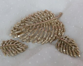 BSK Leaf Brooch and Clip on Earrings or Scarf Clips Vintage Mid Century Era