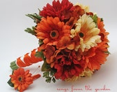 Autumn Wedding Bridal Bouquet Real Touch Gerber Daisies Silk Hydrangea Groom's Boutonniere Orange Red Yellow Fall Color Bridal Bouquet - SongsFromTheGarden