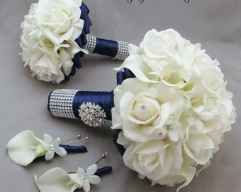 Reserved - Navy White Wedding Flower Package Bridal Bouquet Groom's Boutonniere Bridesmaids Toss Bouquet Corsages