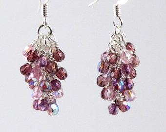Purple Cluster Dangle Earrings, Surgical Steel or Sterling Silver