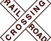 Rail Road Crossing - Wall Decal - Vinyl Wall Decals, Wall Decor, Wall Quotes, Train Decal, Train Decor, Railroad Sign