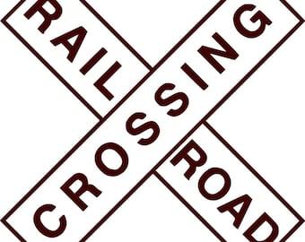 Rail Road Crossing - Wall Decal - Vinyl Wall Decals, Wall Decor, Wall Quotes, Train Decal, Train Decor, Railroad Sign