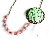 Beaded Fabric Rose necklace/Women fashion jewelry/ Apple green flower with salmon pink beads, brass chain and filigree/MADE TO ORDER