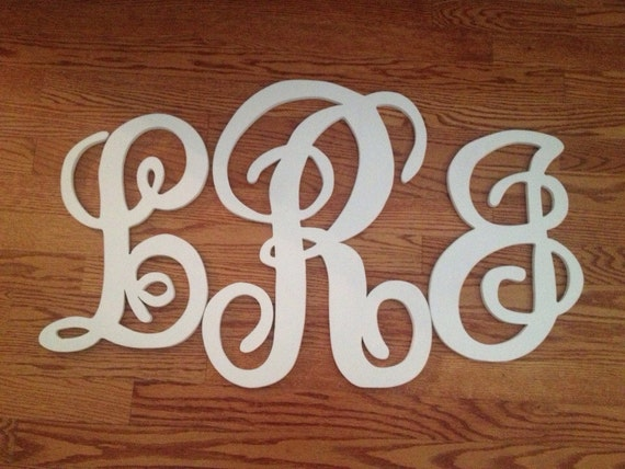 Unfinished Monogram set of three letters THIS listing letters measure 18 inches 24inches and 18inches