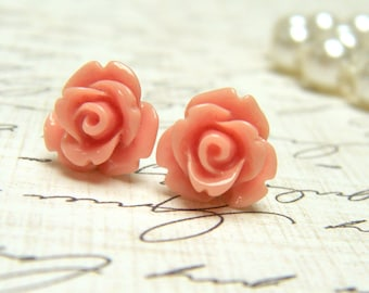 Pink Flower Earrings, Tiny Rose Earrings, Stud Earrings, Salmon Pink Post Earrings, Vintage Style Earrings, Surgical Steel