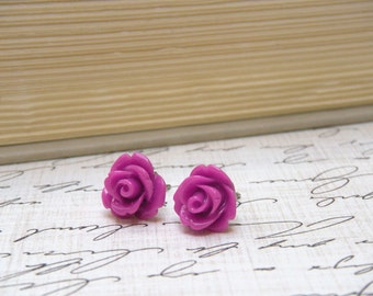 Purple Flower Earrings, Rose Earrings, Stud Earrings, Purple Post Earrings, Bridal Party Gifts, Vintage Style - Byzantine Purple