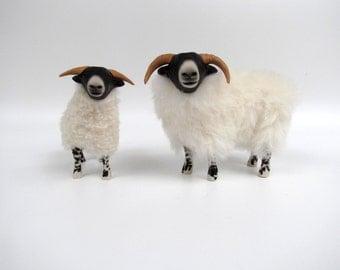 Sheep Figurines Handmade in North Carolina, Irish Blackface Mountain Sheep, Ewe and Lamb