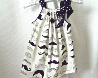 4T, 5T, 6/6x Girl's Mustache Pillowcase-style Summer Sleeveless Sundress Dress