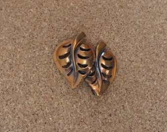 Vintage Copper Double leaf pin brooch
