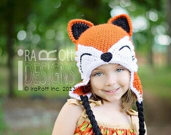 PATRÓN DE CROCHET Moxie y Roxy el Patrón Bosque Red Foxes Crochet Hat en PDF