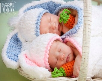 CROCHET PATTERN Bunny Rabbit Baby Hat with Carrot and Cocoon Set PDF Pattern, Instant Download