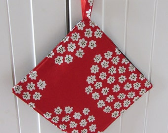 "Red MARIMEKKO pot holder,  hostess/ house warming gift,  authentic fabric called ""Puketti"" from Finland, Handmade certified"