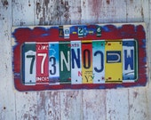 Personalized License Plate Sign Art  - Funky Word Block - WEDDING Custom Anniversary Childrens NAMES Available - Recycled Vintage Art