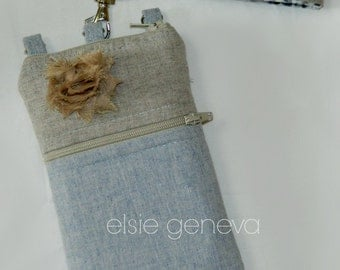 Solid Sand Natural Placid Blue or Pink Japanese Linen Zipper Phone Case Rosette Includes Choose Your Wristlet Style
