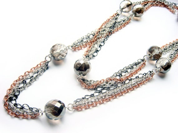 Rose Gold Necklace With Silver Chains And Czech Glass Beads On Long Necklace - Rosy