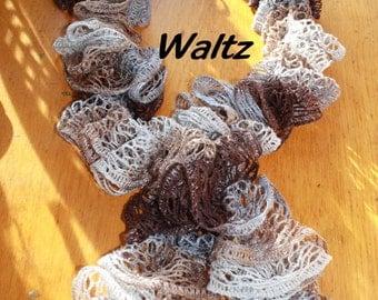 ON SALE!!!!   Waltz Sashay Hand Crocheted Ruffle Scarf