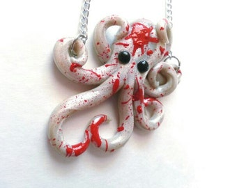 Dexter Inspired Blood Splattered Octopus Necklace made to order